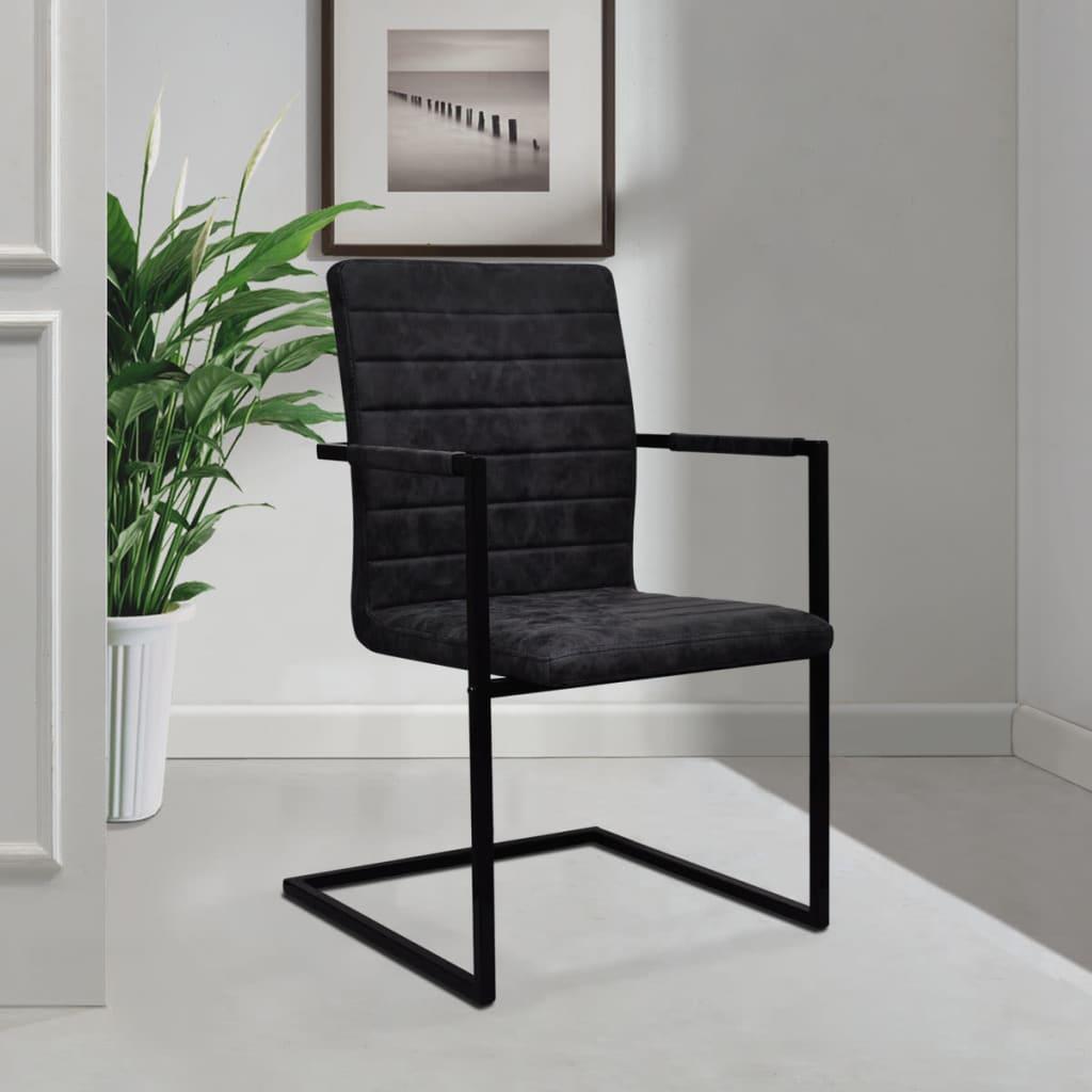 6 freischwinger esszimmerst hle mit armlehnen schwarz geriffelt g nstig kaufen. Black Bedroom Furniture Sets. Home Design Ideas