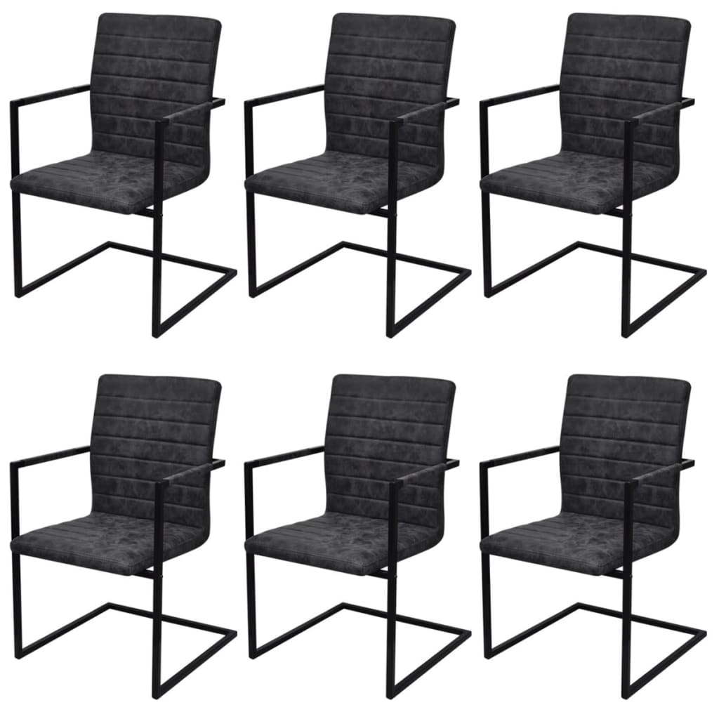 6 sillas de comedor acanaladas tipo cantilever con - Sillas con reposabrazos de comedor ...