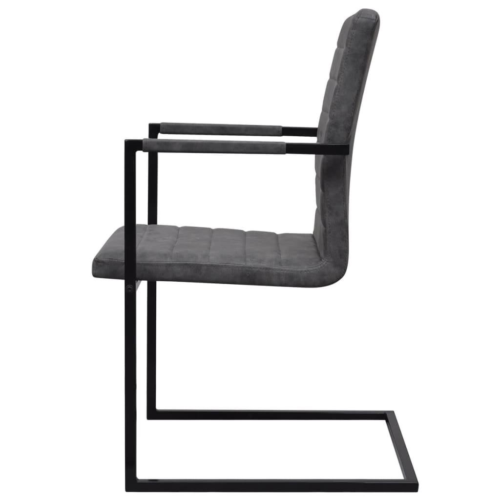 4 freischwinger esszimmerst hle mit armlehnen grau geriffelt g nstig kaufen. Black Bedroom Furniture Sets. Home Design Ideas