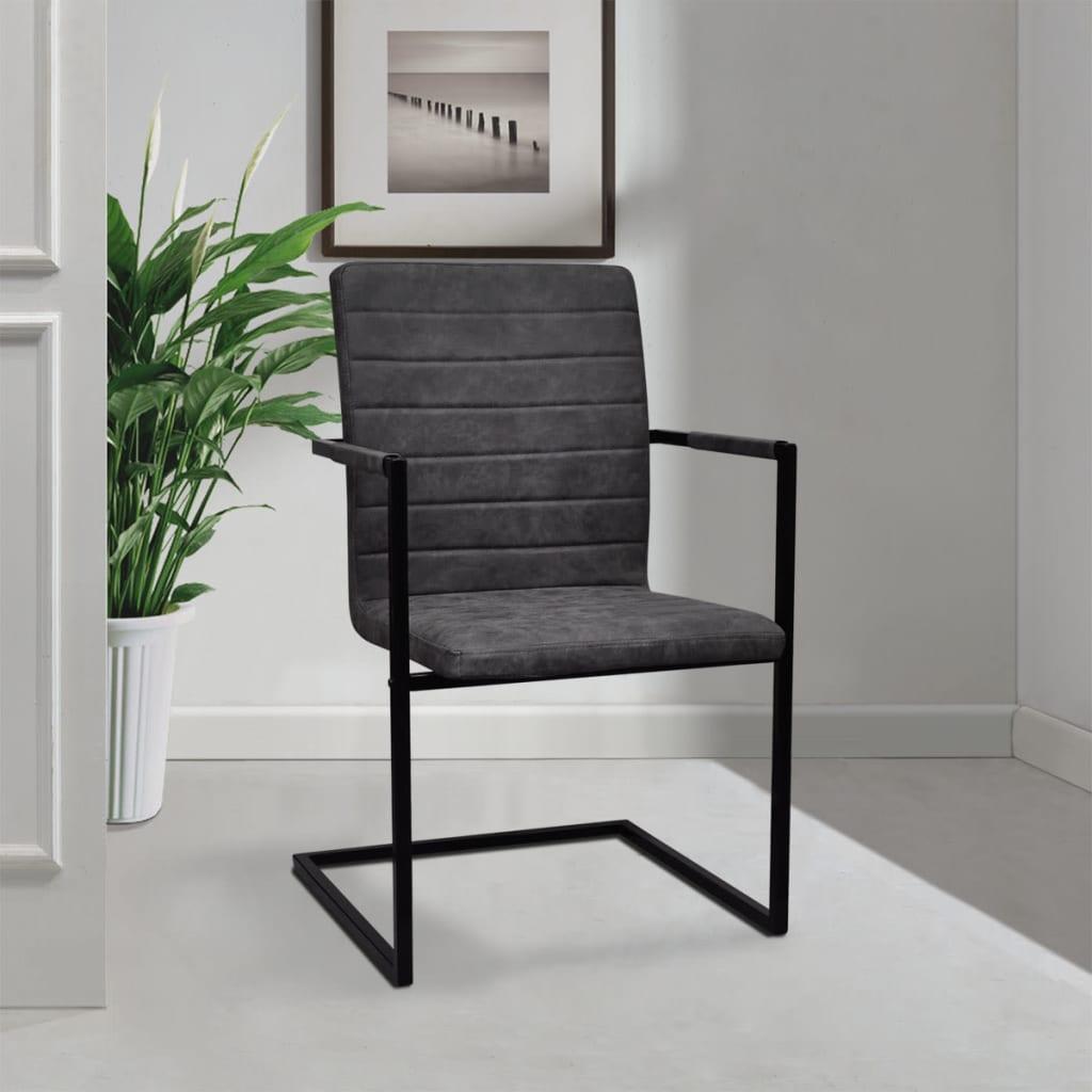 der 4 freischwinger esszimmerst hle mit armlehnen grau. Black Bedroom Furniture Sets. Home Design Ideas