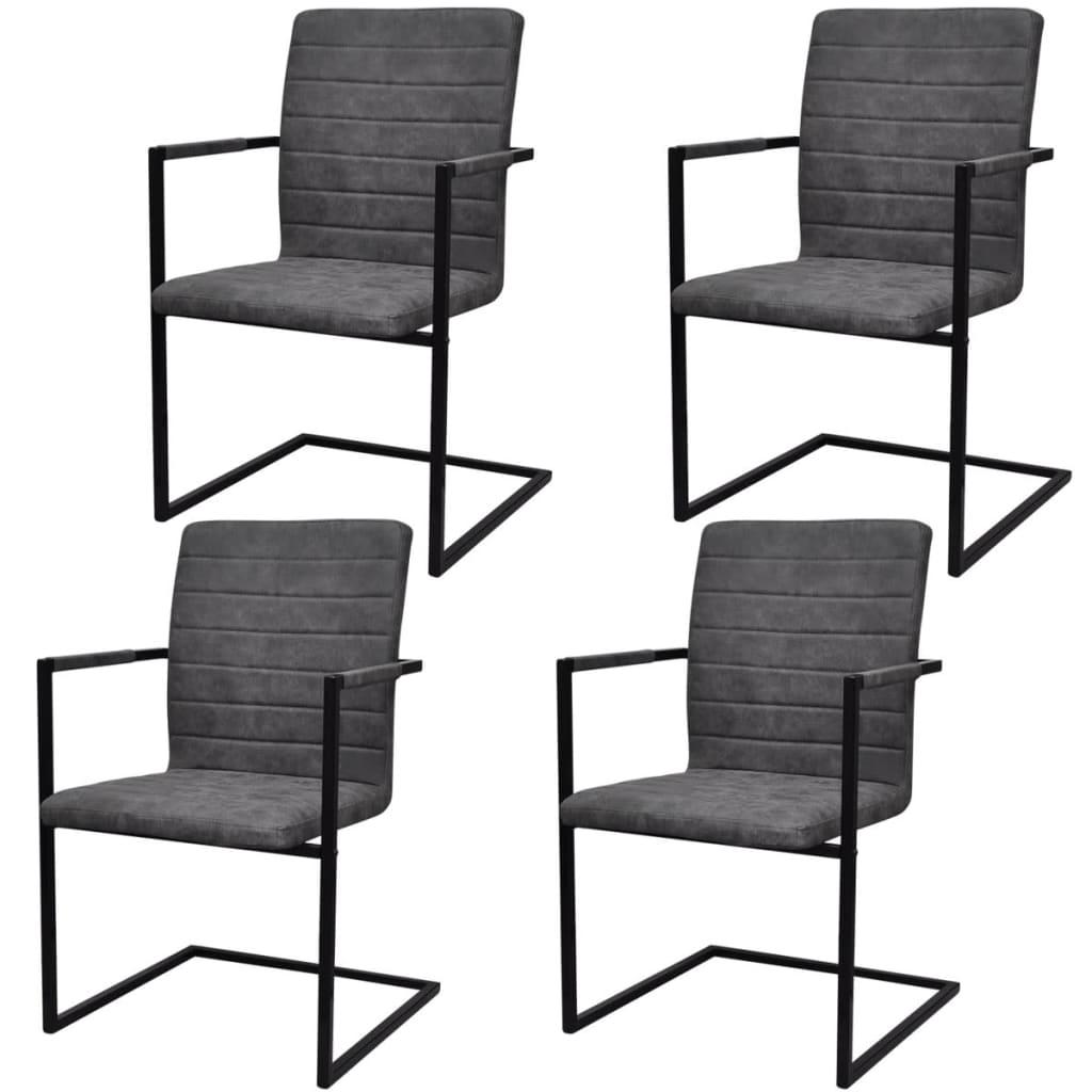 4 freischwinger esszimmerst hle mit armlehnen grau. Black Bedroom Furniture Sets. Home Design Ideas