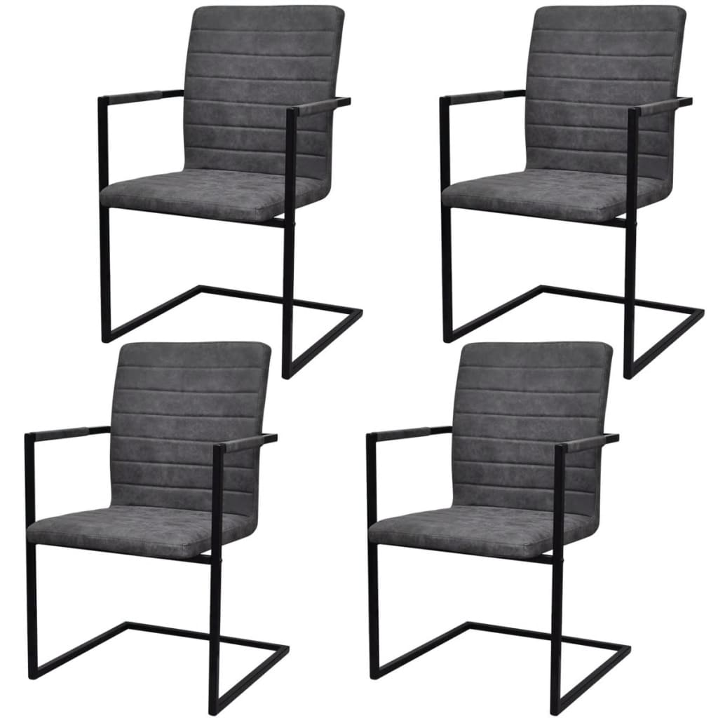 der 4 freischwinger esszimmerst hle mit armlehnen grau geriffelt online shop. Black Bedroom Furniture Sets. Home Design Ideas