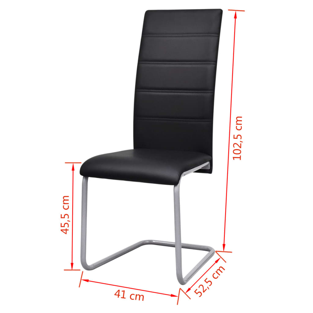 6 freischwinger esszimmerst hle mit hoher r ckenlehne schwarz g nstig kaufen. Black Bedroom Furniture Sets. Home Design Ideas