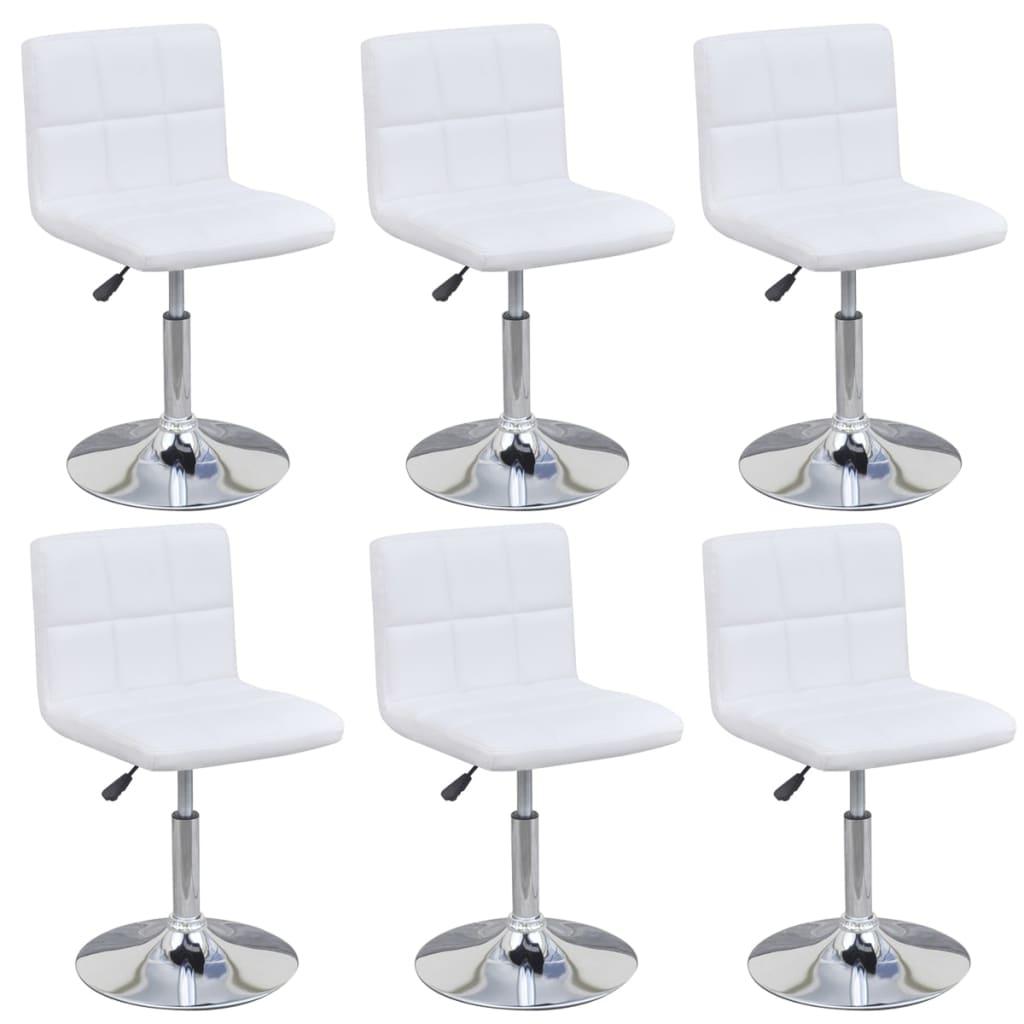 vidaXL Obrotowe krzesła do jadalni, 6 szt., regulowana wysokość, białe