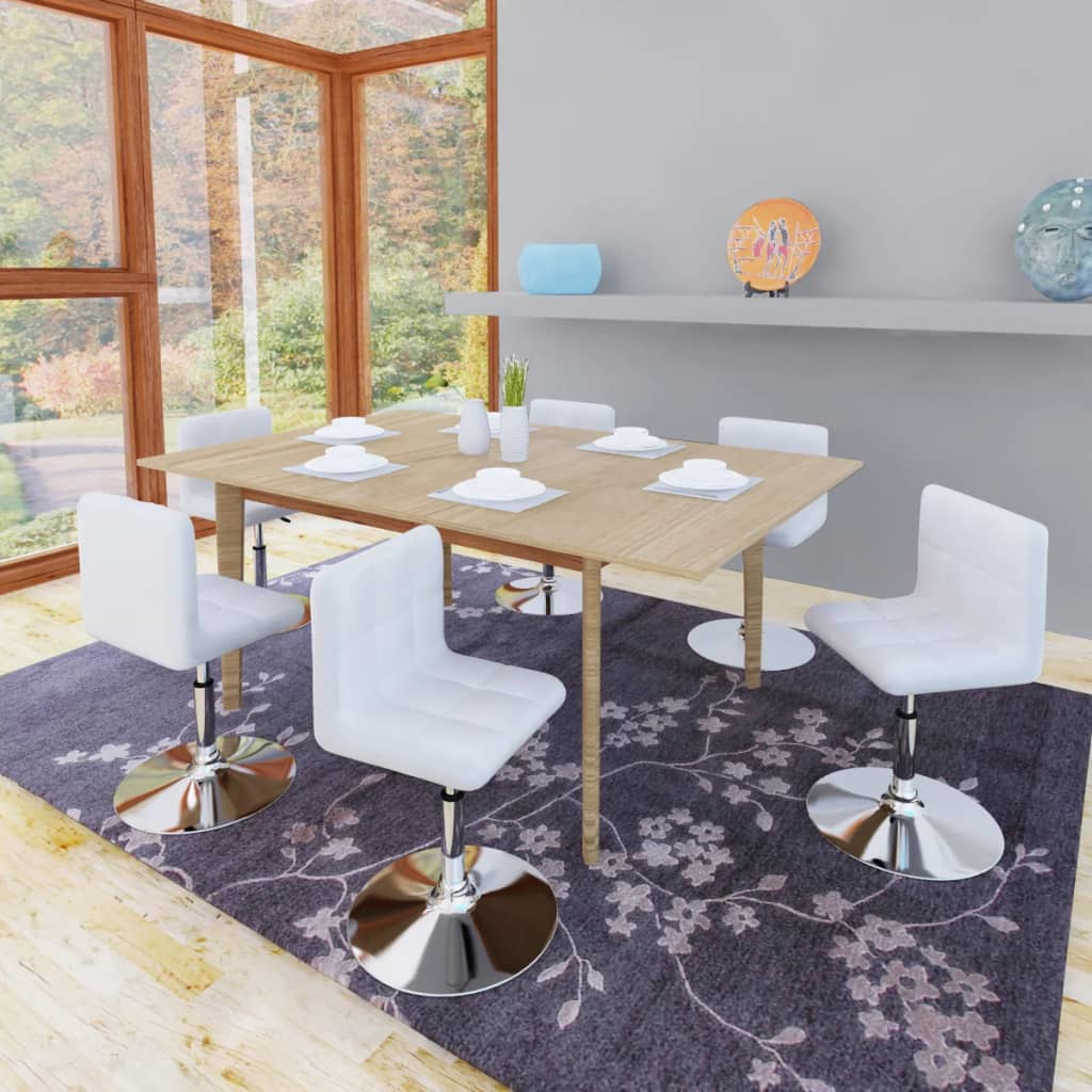vidaXL 6 db állítható magasságú hajlított étkezőasztal fehér háttámlával