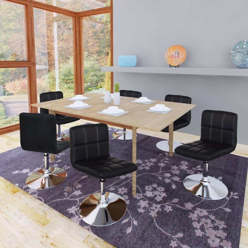 vidaXL 6 db állítható magasságú hajlított étkezőasztal fekete háttámlával