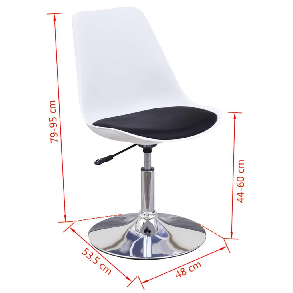 6 sillas giratorias de comedor de altura ajustable blanco for Altura silla