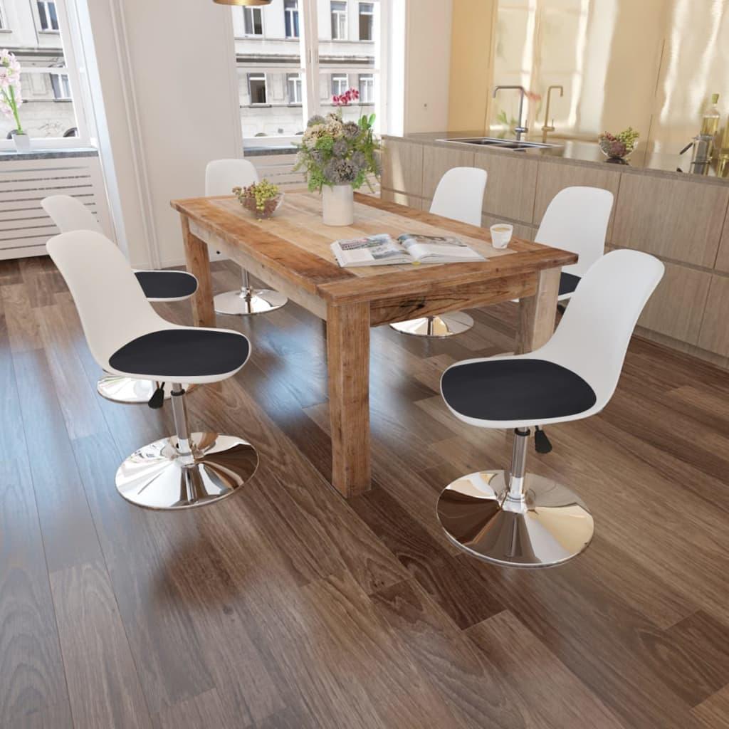 6 sillas giratorias de comedor de altura ajustable blanco for Comedor blanco y negro