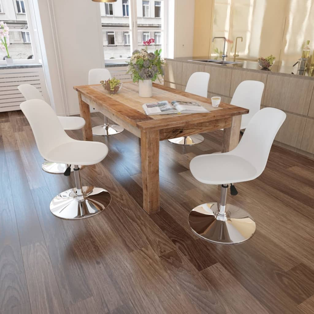vidaXL 6 db állítható magasságú hajlított étkezőasztal fehér