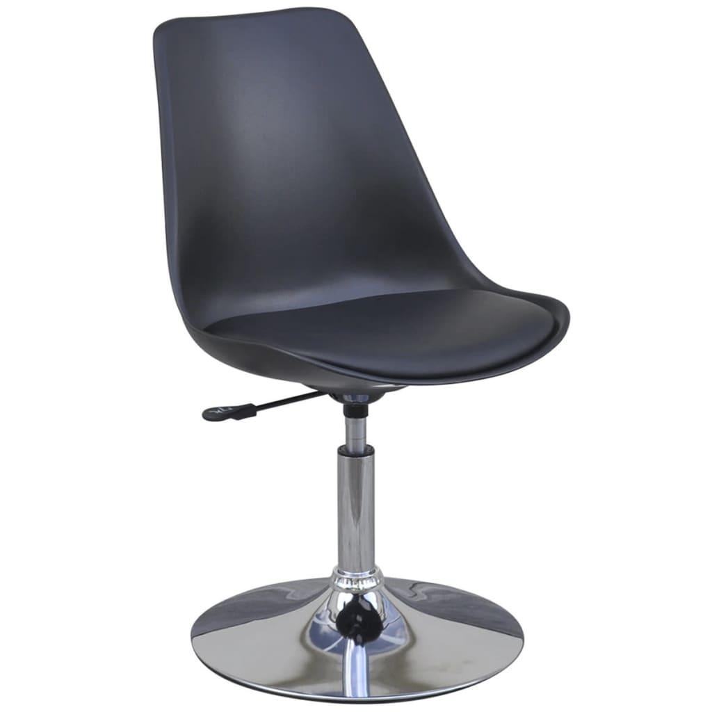 6 sillas giratorias de comedor de altura ajustable negro