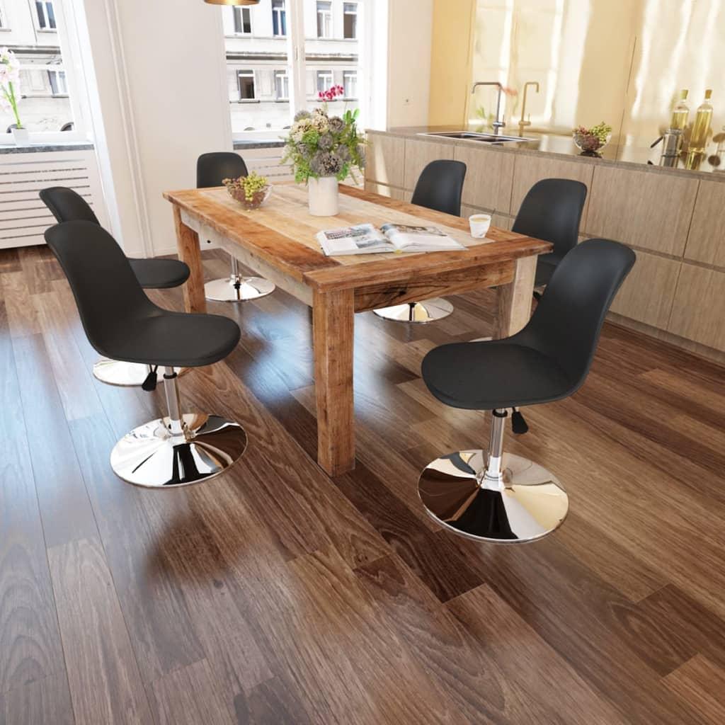 vidaXL 6 Chaises pivotantes réglables en Noir Ces chaises haute qualités de salle à manger , avec leurs design moderne et &eacute