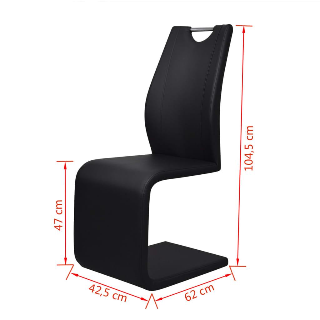 4 kunstleder freischwinger esszimmerst hle mit griff. Black Bedroom Furniture Sets. Home Design Ideas