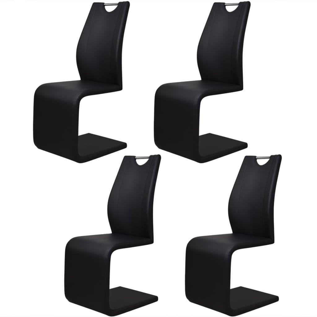 vidaXL 4 darab fekete műbőr fémvázas szék