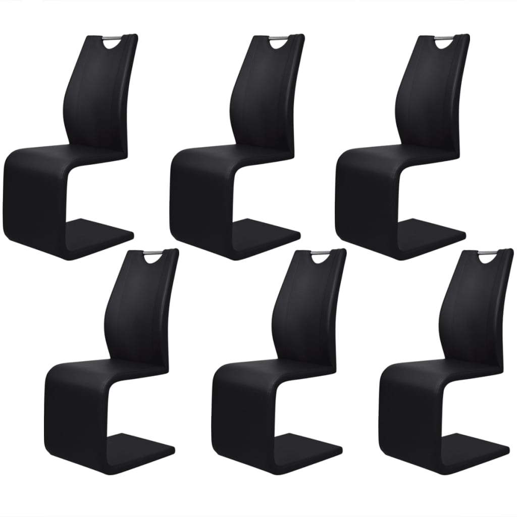 6 sillas tipo cantilever de cuero artificial negro con for Sillas para bolear zapatos