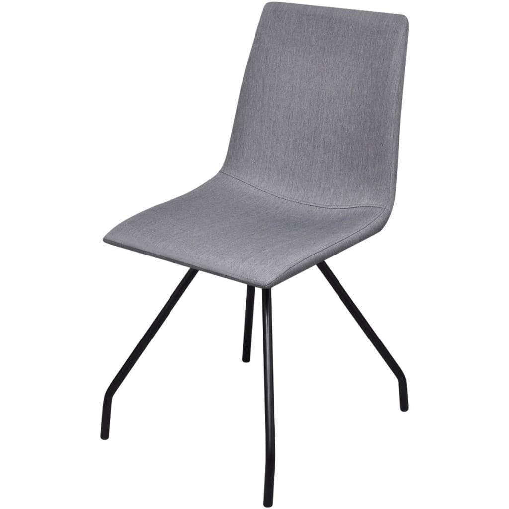6 sillas de comedor de tela con patas de hierro gris claro for Sillas de tela comedor
