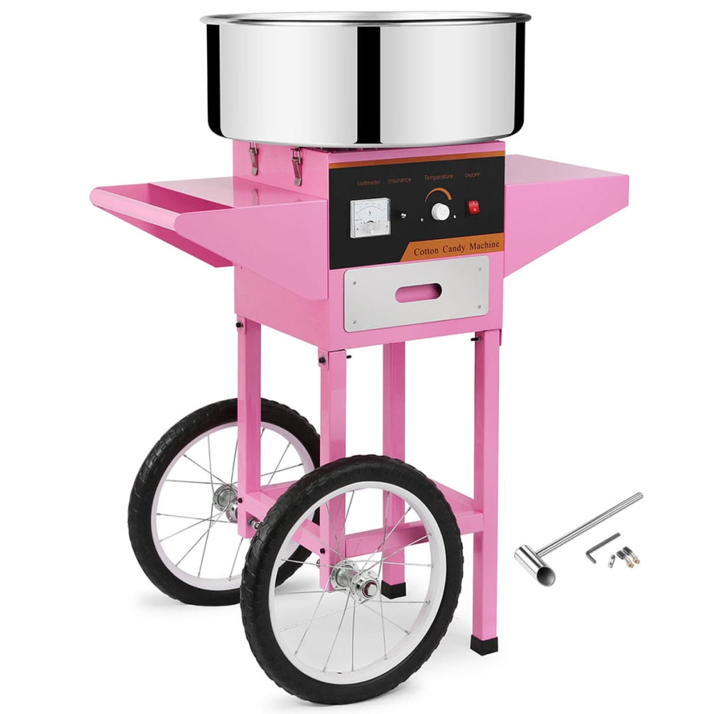 vidaXL 272445 Professional Candy Floss Machine with Cart (50459 + 50460) - Untranslated