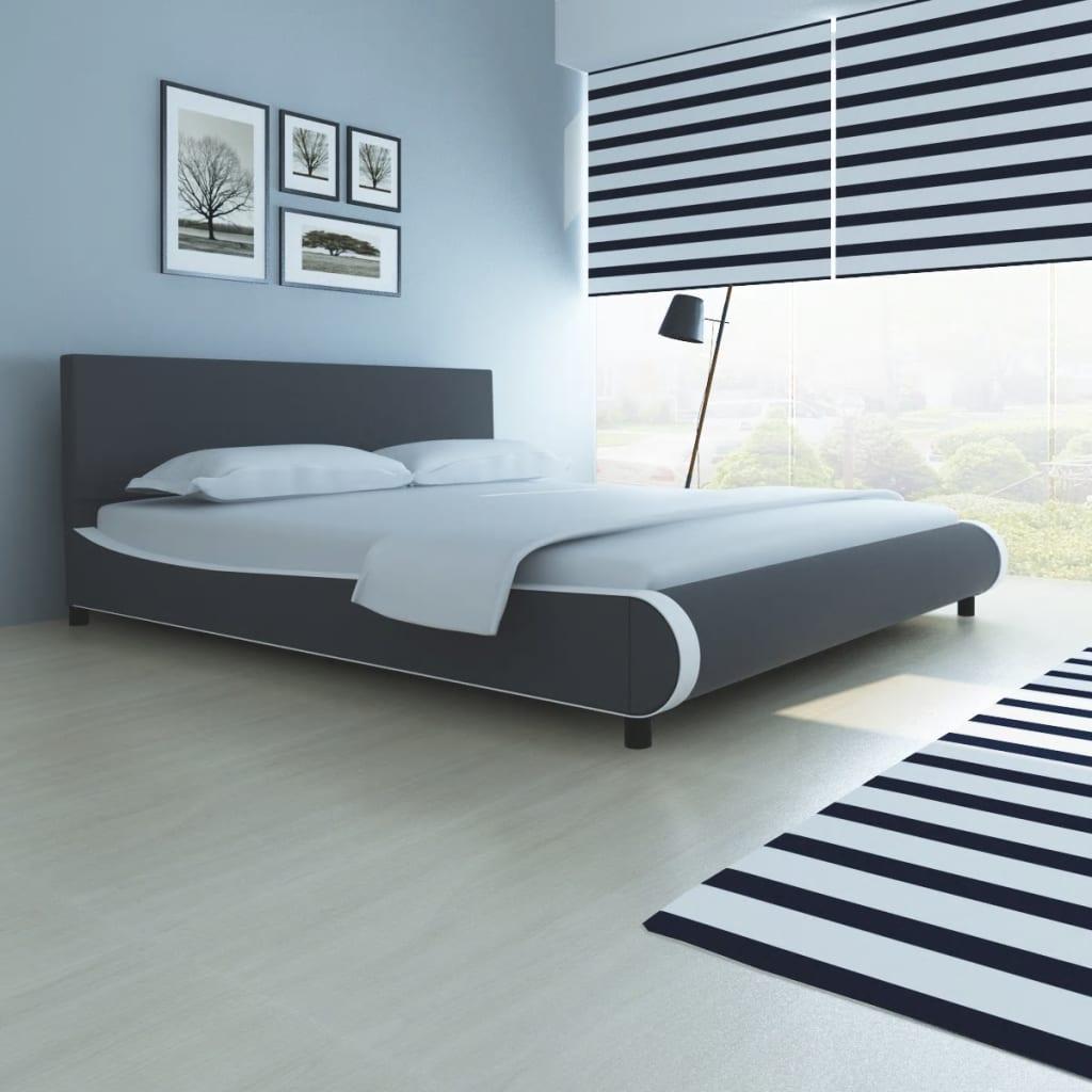 vidaXL szürke műbőr ágy memóriahabos matraccal 180 x 300 cm