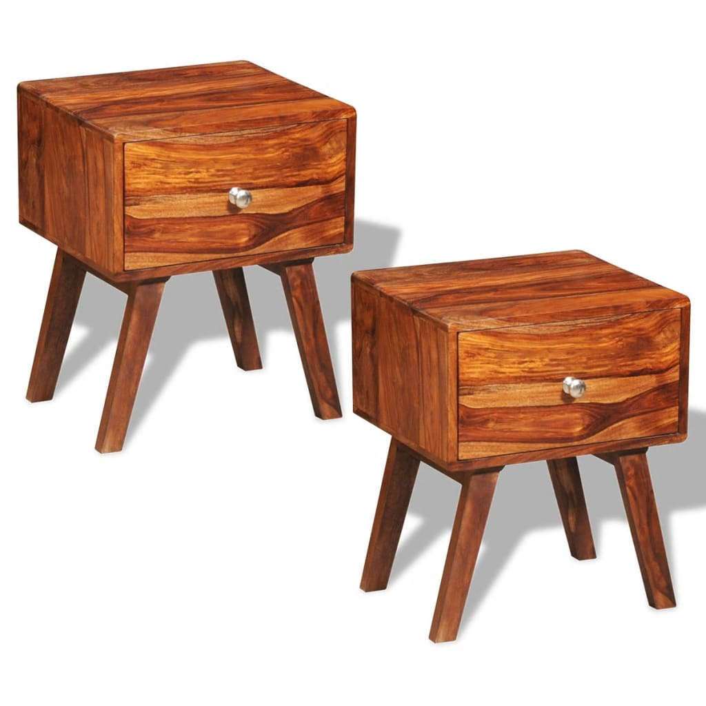 2 sheesham wood bed cabinets side tables for Retro side table