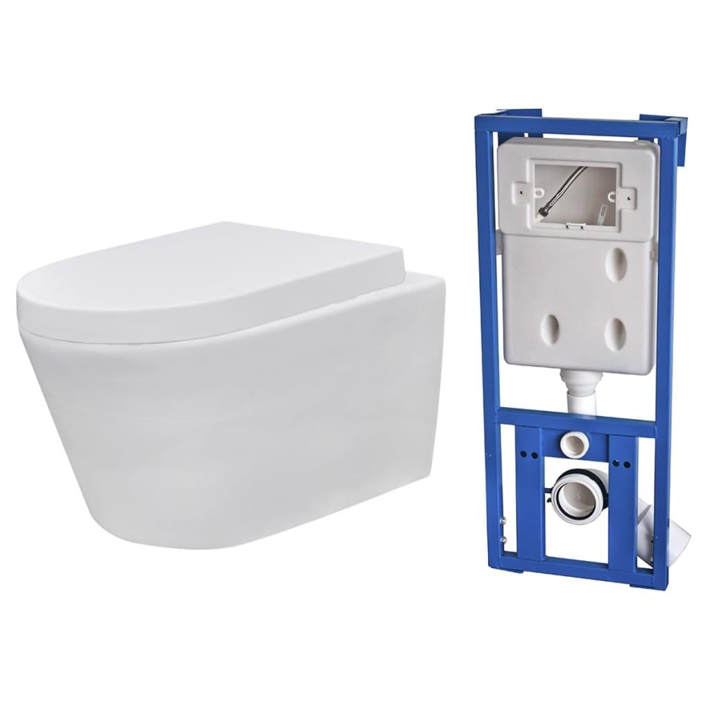 Afbeelding van vidaXL Toilet hangend keramisch badkamer wit met inbouwreservoir