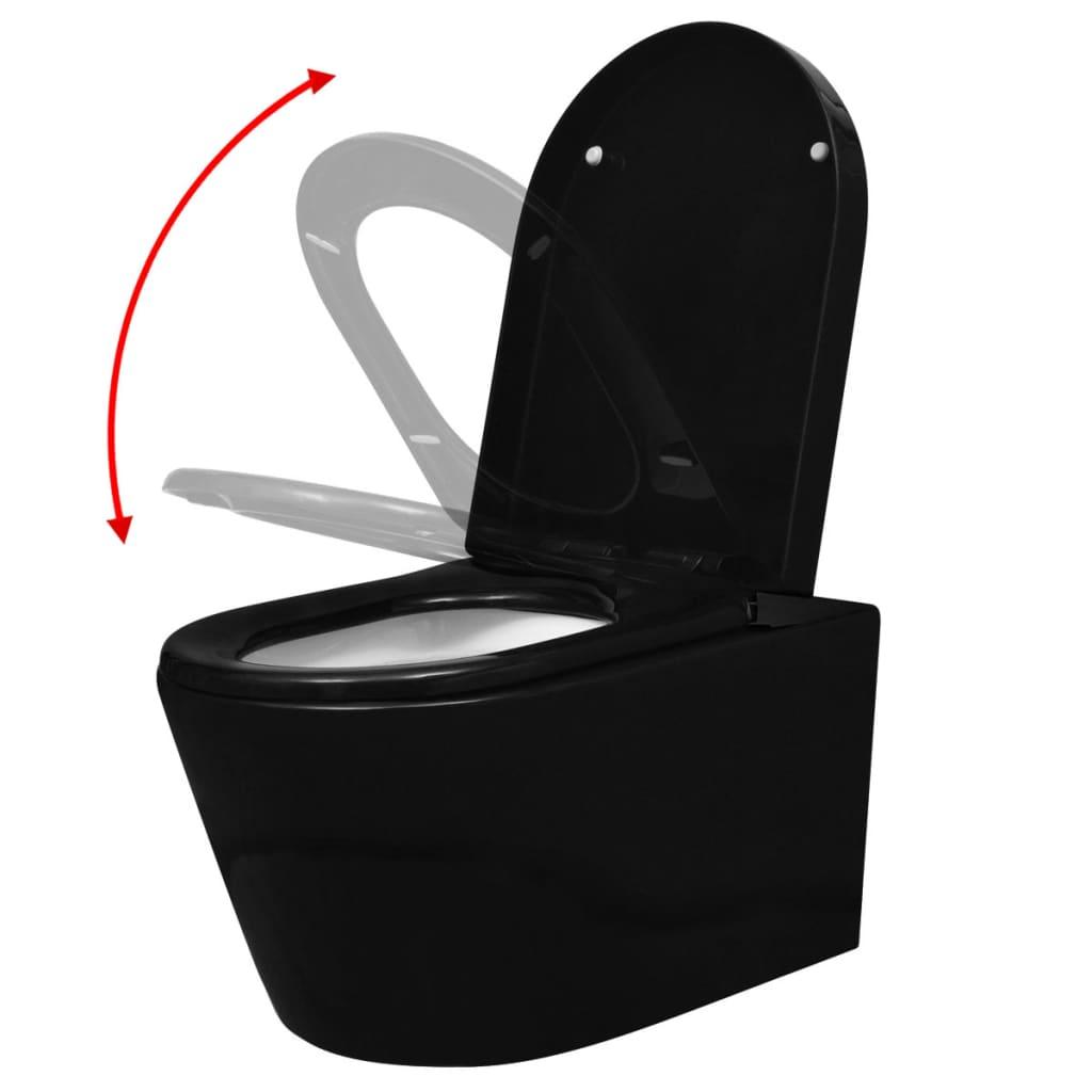 Inodoro de pared de cer mica con cisterna empotrada negro for Inodoro pared