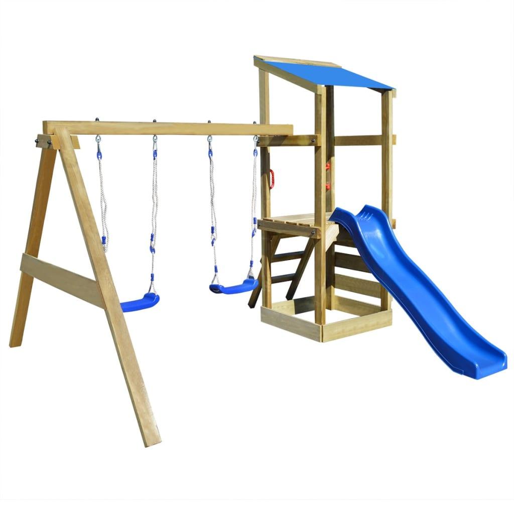 2 sur 11 vidaXL Portique Aire de Jeux bois avec échelle balançoires et  toboggan  f382a8583063