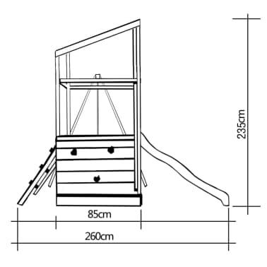 vidaXL Playhouse Set with Ladder, Slide and Swings 290x260x235 cm Wood[7/7]