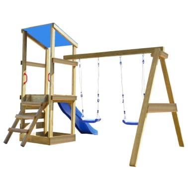vidaXL Playhouse Set with Ladder, Slide and Swings 290x260x235 cm Wood[2/7]