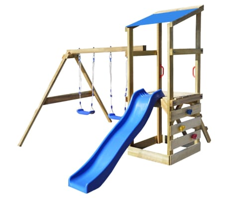 vidaXL Playhouse Set with Ladder, Slide and Swings 290x260x235 cm Wood