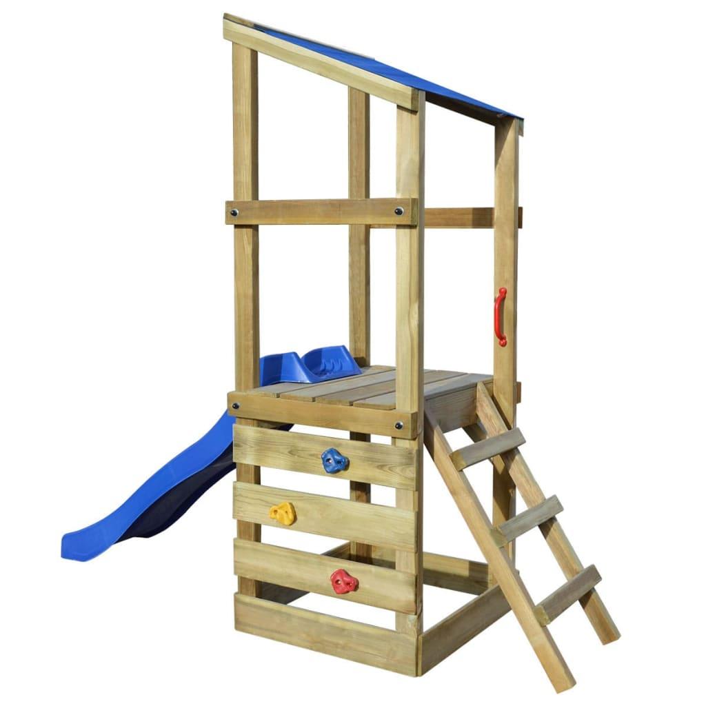 acheter vidaxl aire de jeux avec chelle et toboggan en bois 260x90x235 cm pas cher. Black Bedroom Furniture Sets. Home Design Ideas