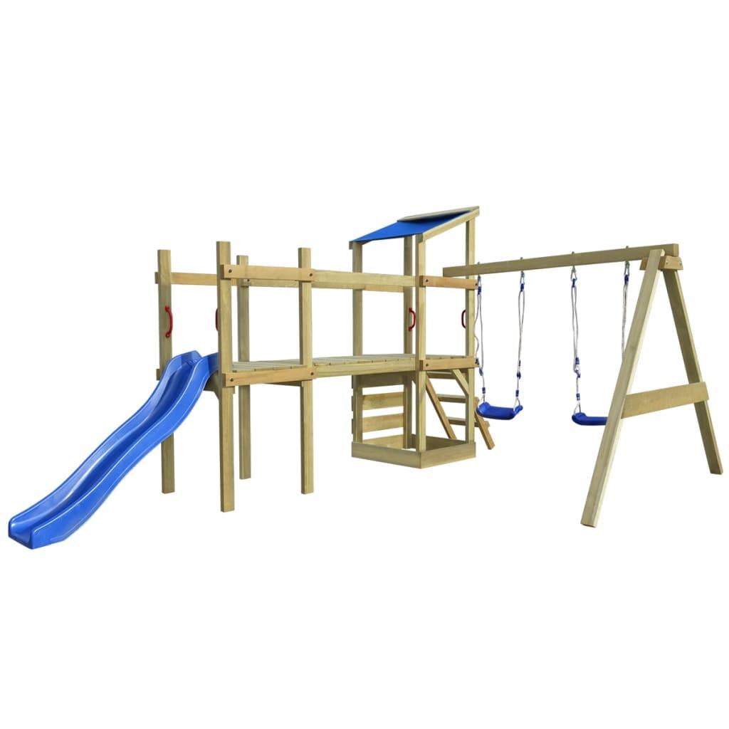 2 sur 11 vidaXL Aire de jeux Portique avec échelle toboggan et balançoires  bois 2005a2f53e97