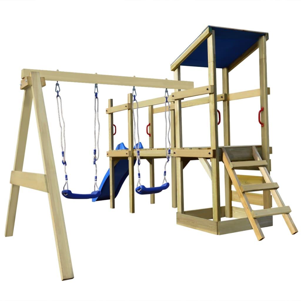1 sur 11Livraison gratuite vidaXL Aire de jeux Portique avec échelle  toboggan et balançoires bois b5bc98ef0be2
