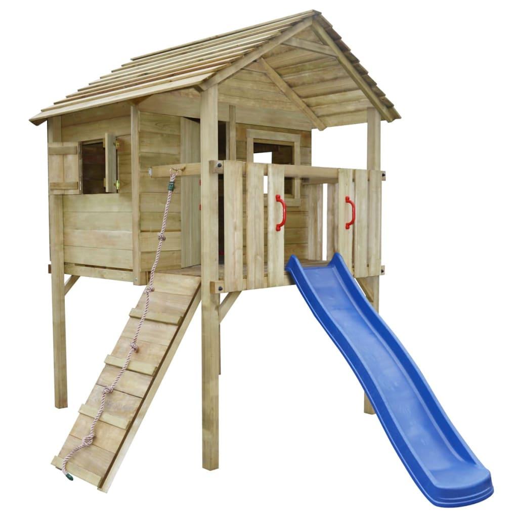 Vidaxl casetta gioco da esterno bambini legno con scivolo for Cancelletto bambini da esterno