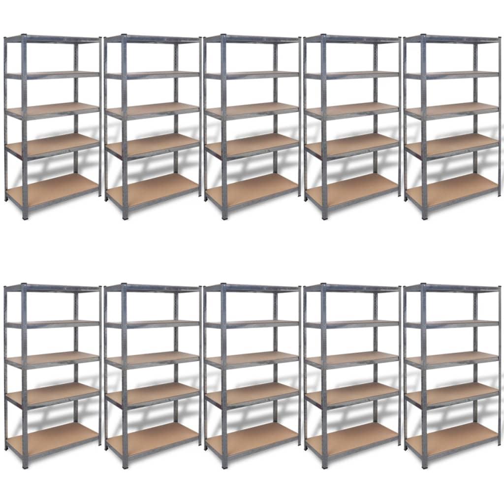 Vidaxl storage shelves 10 pcs 90x40x180 cm steel - Etagere 40 cm largeur ...