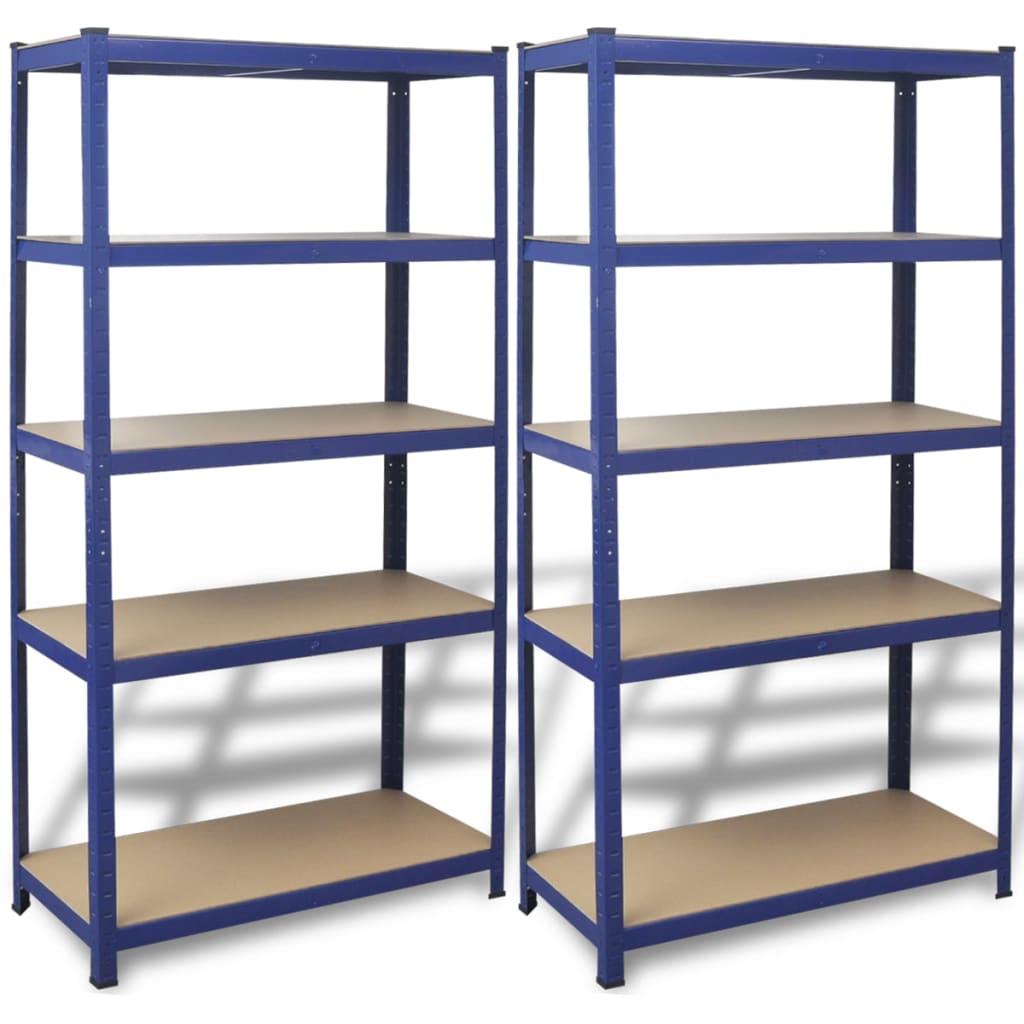 Afbeelding van vidaXL Opbergrekken 90x40x180 cm staal blauw 2 st