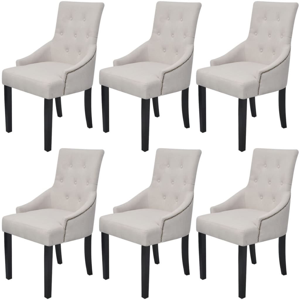 la boutique en ligne vidaxl chaises pour salle manger 6 pcs polyester cr me. Black Bedroom Furniture Sets. Home Design Ideas