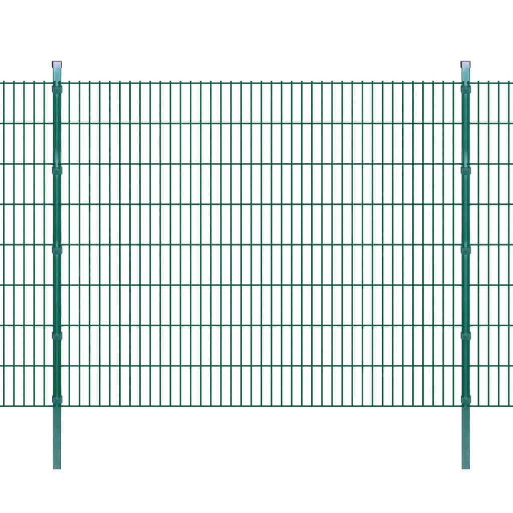 vidaXL-Set-11-Pannelli-di-recinzione-2D-giardino-con-pali-2008x1630-mm-22m-verde