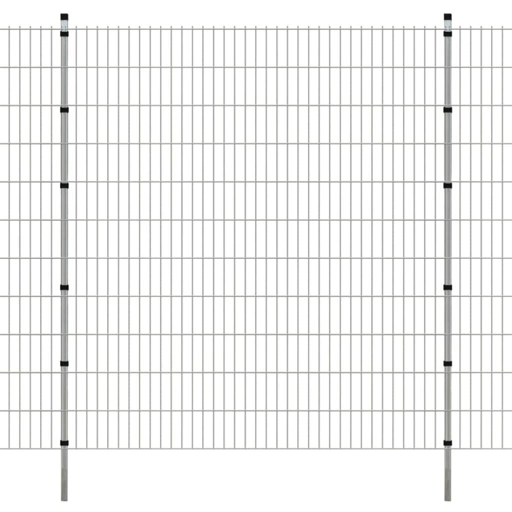 vidaXL-Set-16-Pannelli-di-recinzione-2D-giardino-con-pali-2008x1830mm-32m-grigio
