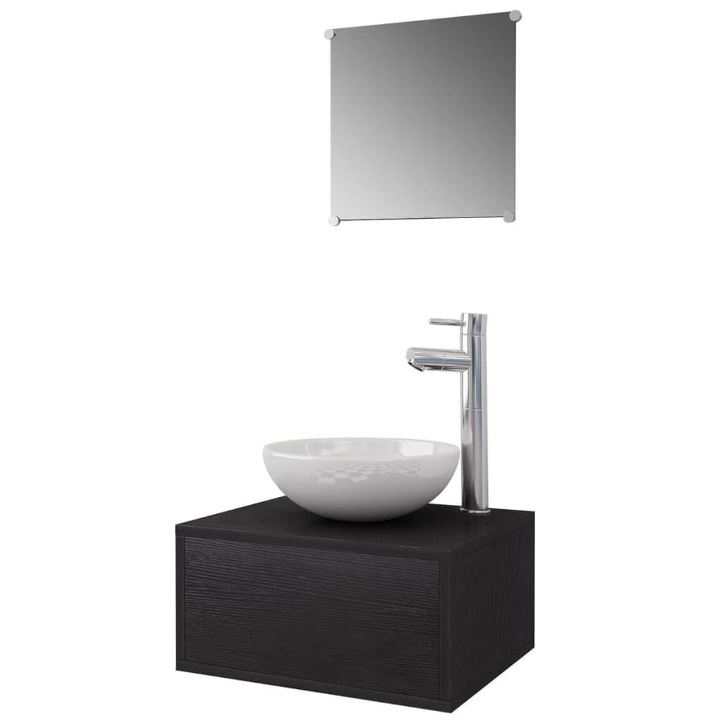 vidaxl 4 tlg badm bel set mit waschbecken und wasserhahn schwarz g nstig kaufen. Black Bedroom Furniture Sets. Home Design Ideas