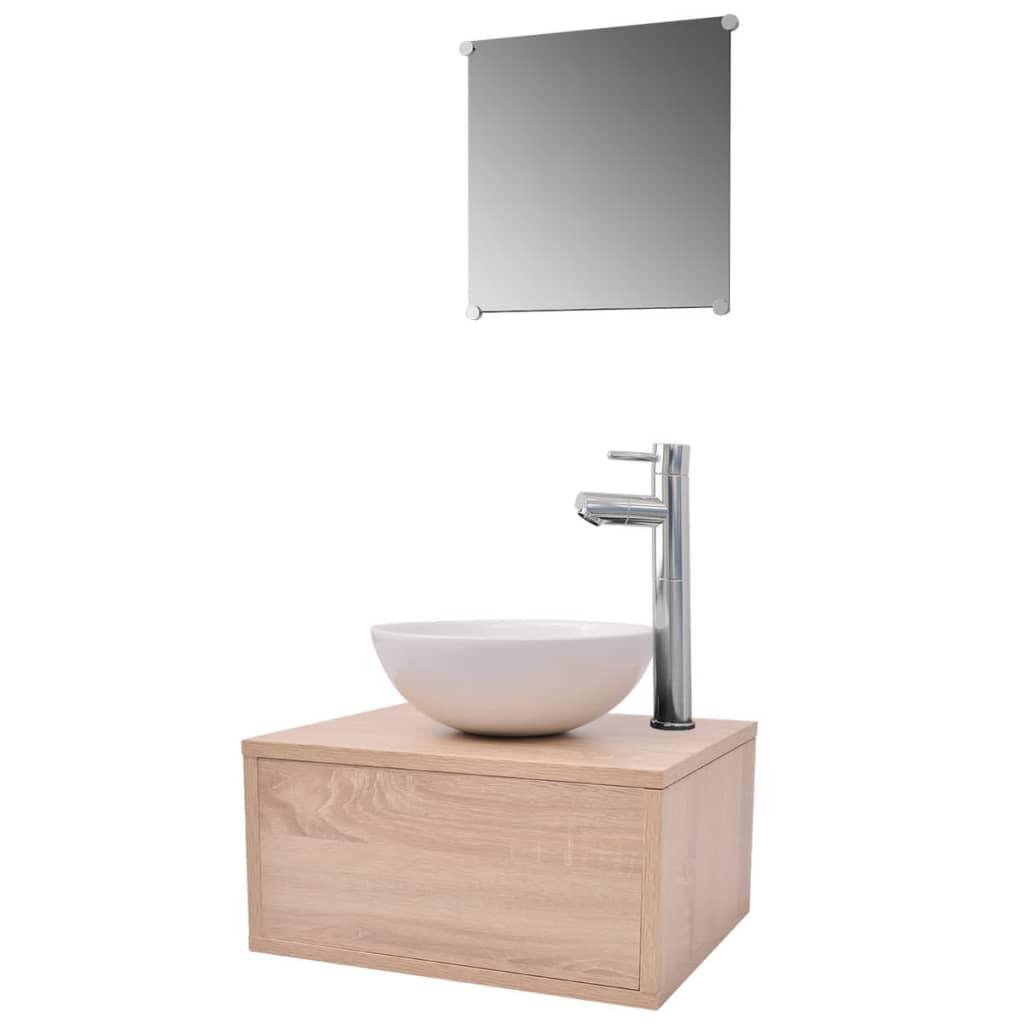 vidaxl 4 tlg badm bel set mit waschbecken und wasserhahn beige g nstig kaufen. Black Bedroom Furniture Sets. Home Design Ideas