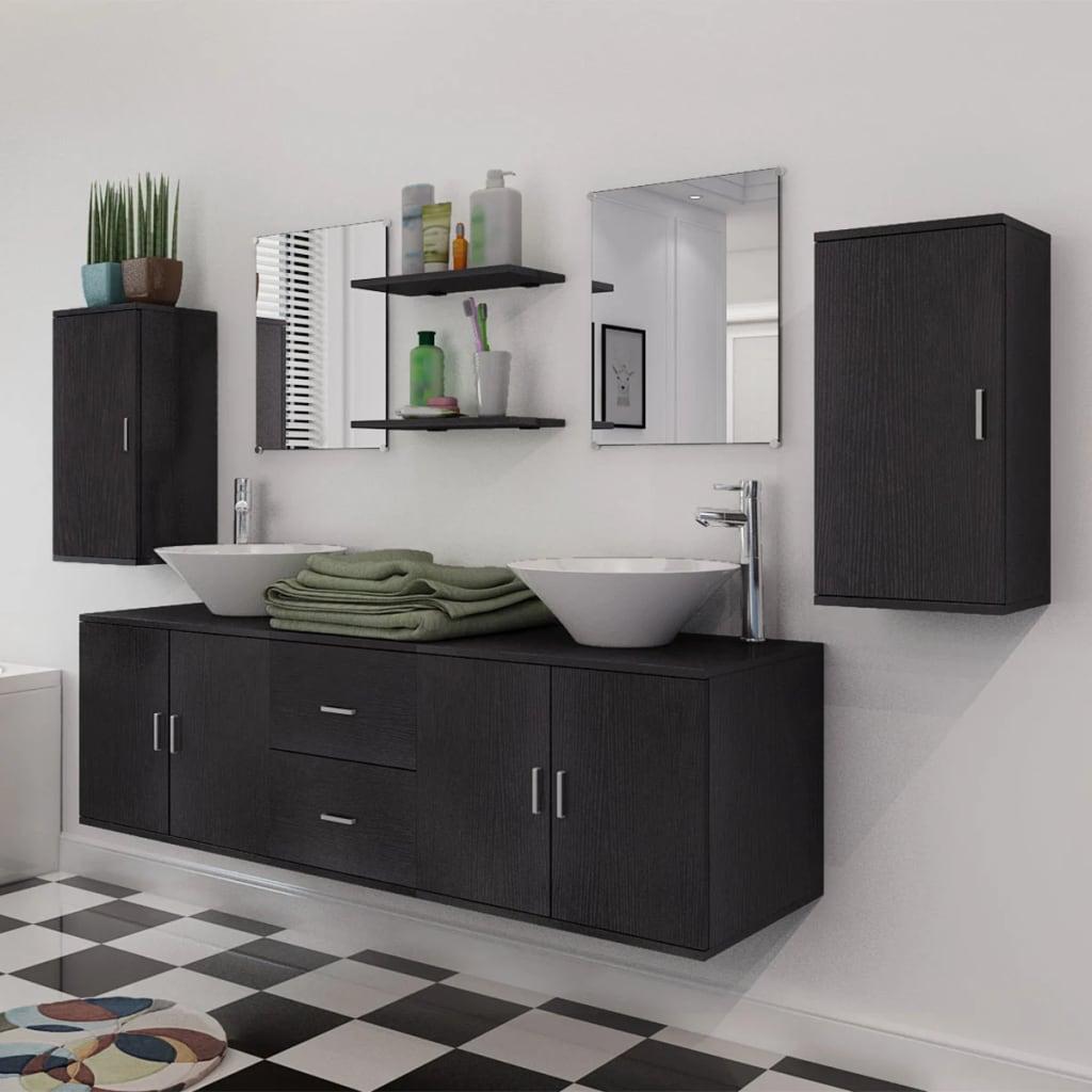 vidaxl 11 tlg badm bel set mit waschbecken und wasserhahn. Black Bedroom Furniture Sets. Home Design Ideas