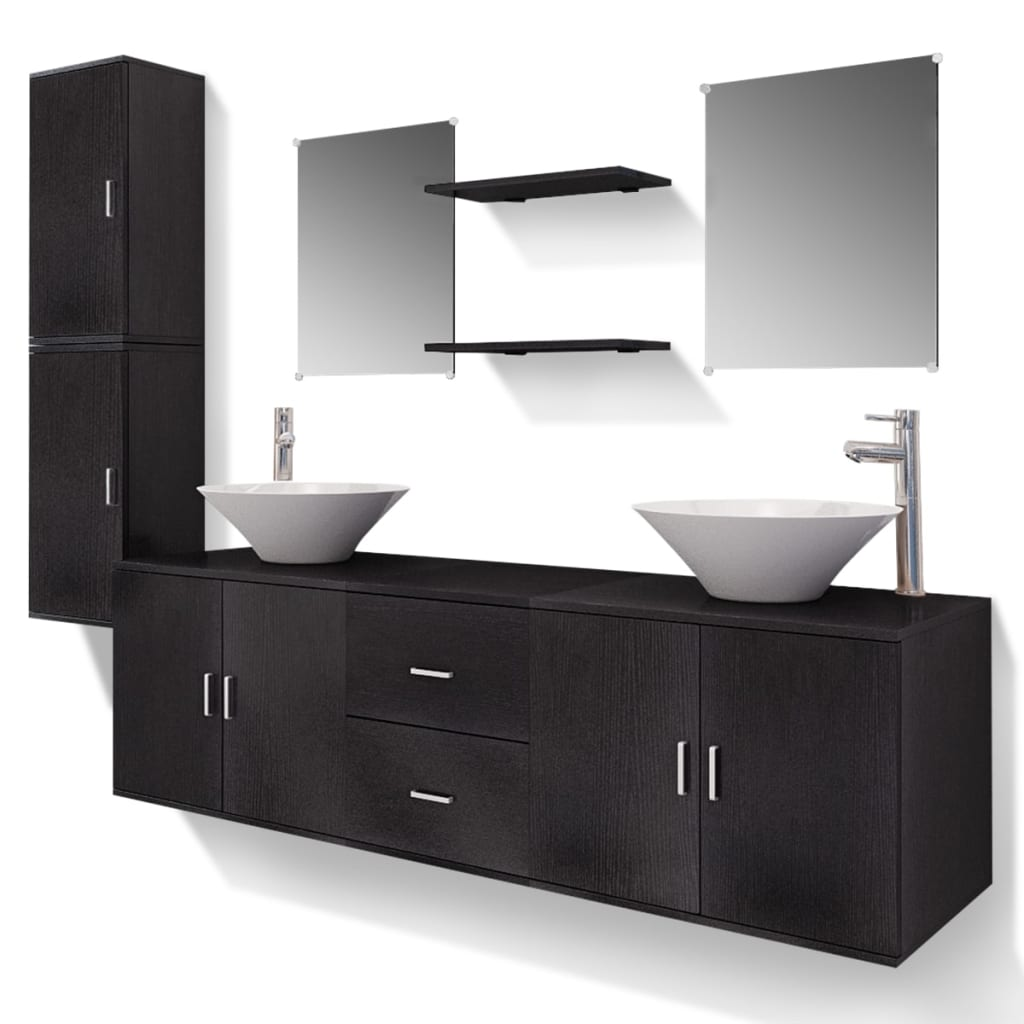 der vidaxl 11 tlg badm bel set mit waschbecken und. Black Bedroom Furniture Sets. Home Design Ideas