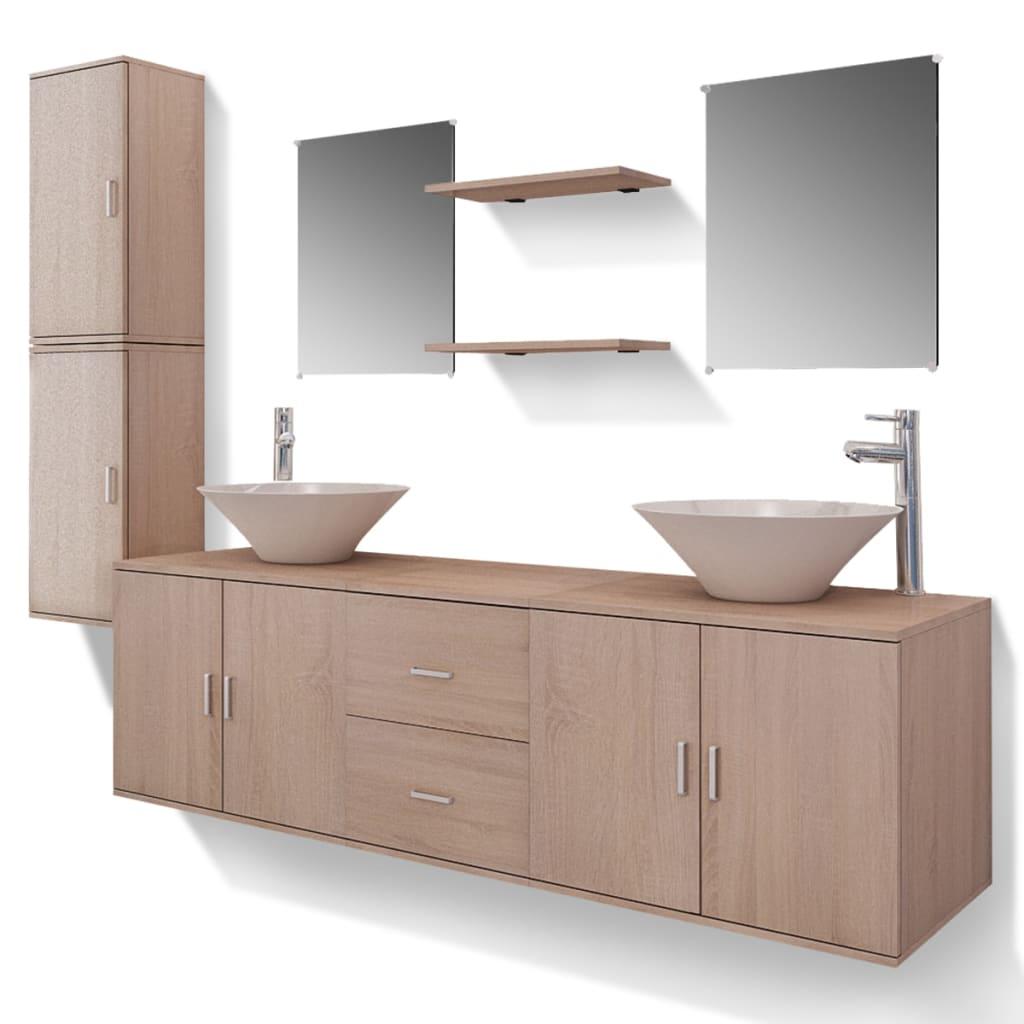 vidaxl 11 tlg badm bel set mit waschbecken und wasserhahn beige g nstig kaufen. Black Bedroom Furniture Sets. Home Design Ideas
