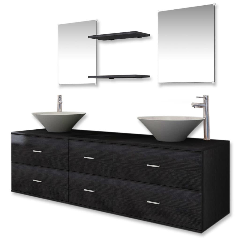 vidaxl 9-tlg. badmöbel-set waschtisch waschbecken wasserhahn spiegel