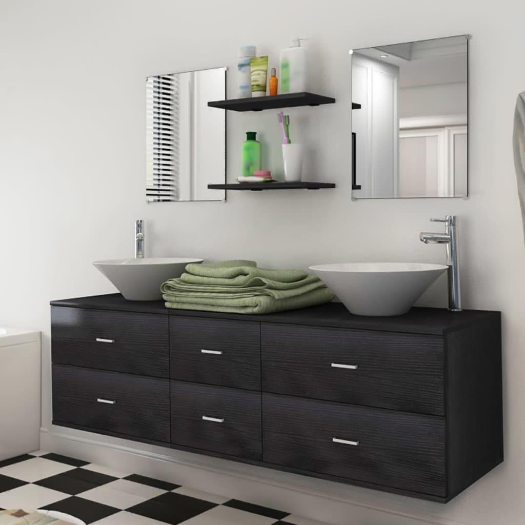 vidaXL 9 részes fürdőszobabútor szett mosdótállal és csappal fekete