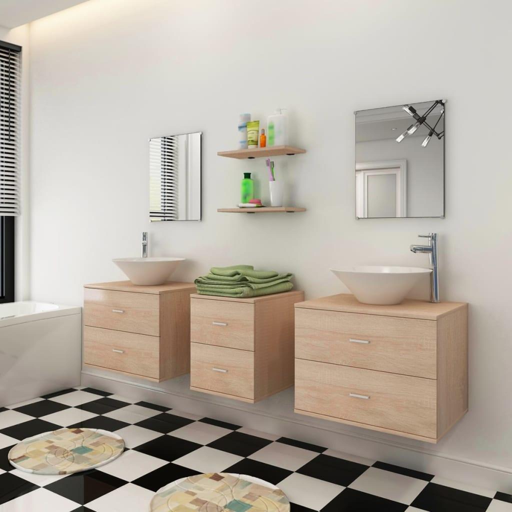 vidaxl 9 tlg badm bel set mit waschbecken und wasserhahn beige g nstig kaufen. Black Bedroom Furniture Sets. Home Design Ideas