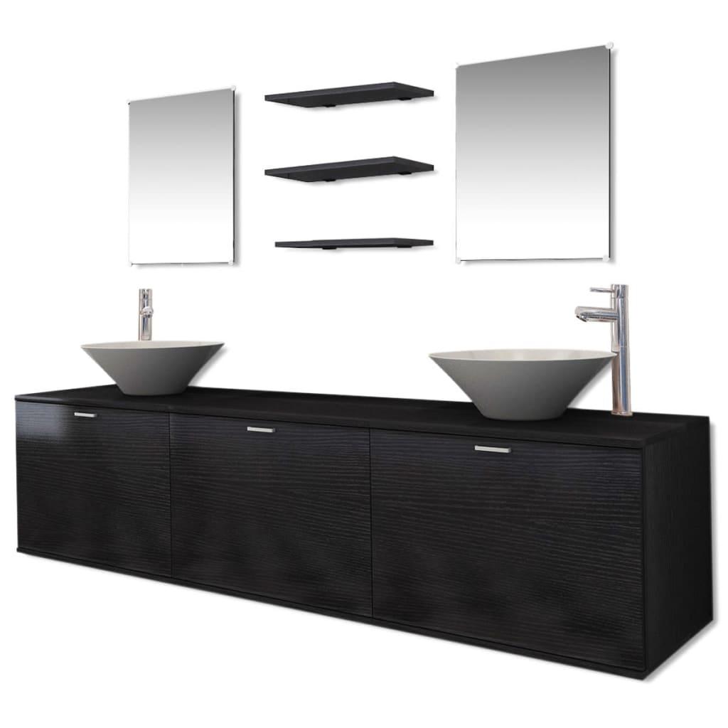 acheter vidaxl dix pi ces pour salle de bains avec lavabo et robinet noir pas cher. Black Bedroom Furniture Sets. Home Design Ideas