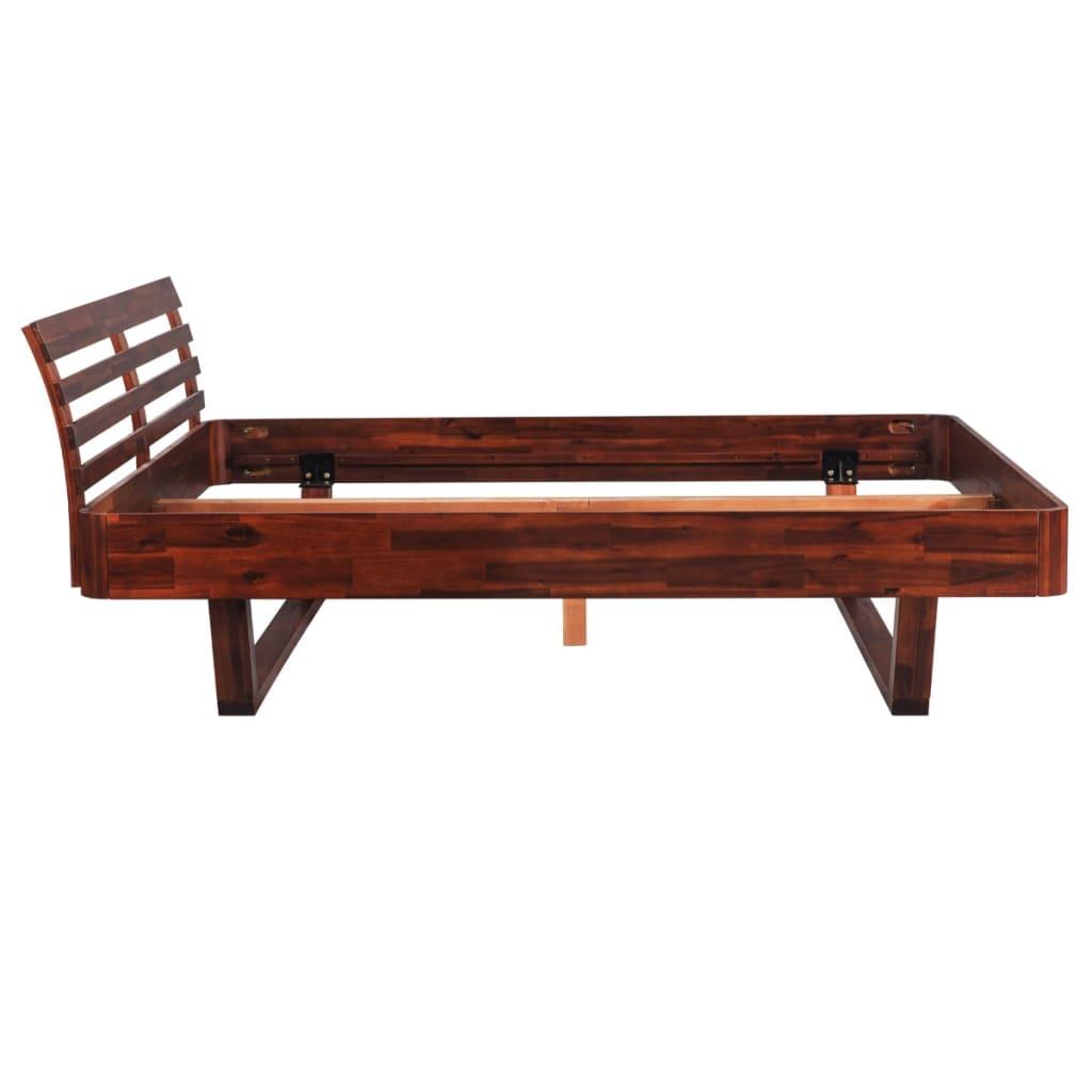 der vidaxl bett mit nachttisch akazienholz braun 140 cm online, Hause deko