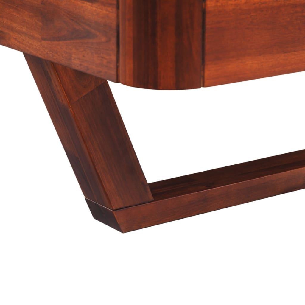 acheter vidaxl lit avec armoire de chevet en bois d 39 acacia marron 140 cm pas cher. Black Bedroom Furniture Sets. Home Design Ideas
