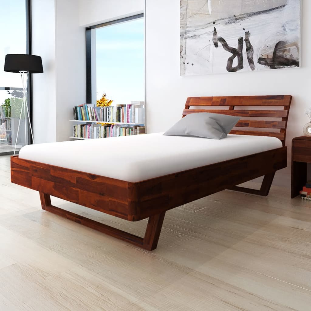 vidaxl bett mit nachttisch akazienholz braun 140 cm. Black Bedroom Furniture Sets. Home Design Ideas