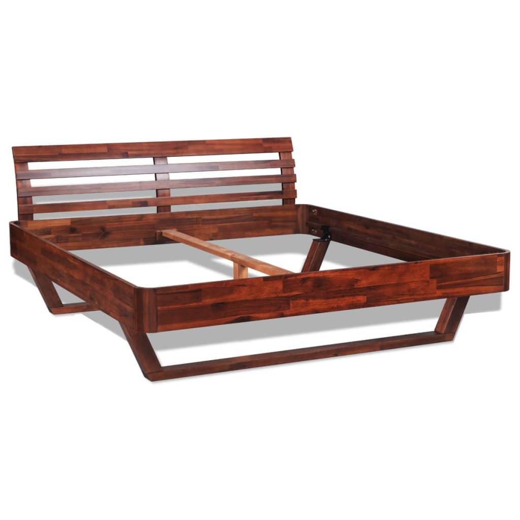 vidaxl bett mit nachttisch akazienholz braun 180 cm g nstig kaufen. Black Bedroom Furniture Sets. Home Design Ideas